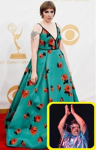 Lena Dunham no Emmy indo contra todos e celebrando o início da Primavera no Hemisfério Sul, porém CAGADA.